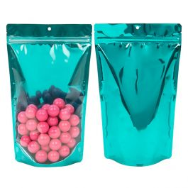 "6 3/4"" x 3 1/2"" x 11 1/4"" (Outer Dims) Bright Teal Backed Stand Up Pouch w/Hang Hole (100 Pieces) [ZBGB4TL]"