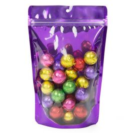 "5 7/8"" x 3 1/2"" x 9 1/8"" (Outer Dims) Bright Violet Stand Up Pouch with Hang Hole (100 Pieces) [ZBGB7VL]"
