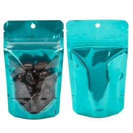 "3 1/8"" x 2"" x 5 1/8"" (Outer Dims) Bright Teal Backed Stand Up Pouch w/Hang Hole (100 Pieces) [ZBGB1TL]"
