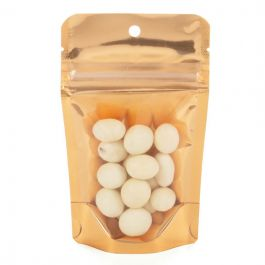 "3 1/8"" x 2"" x 5 1/8"" (Outer Dims) Brilliant Peach Stand Up Pouch w/Hang Hole (100 Pieces) [ZBGB1PC]"