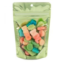 "4"" x 2 3/8"" x 6"" (Outer Dims) Brilliant Green Stand Up Pouch w/Hang Hole (100 Pieces) [ZBGB2GR]"
