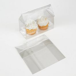 "5"" x 2 1/4"" x 5"" Double Mini Cupcake Bag Set (100 Sets) [CBG8]"