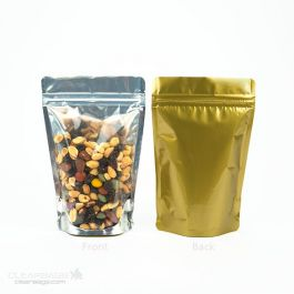 "4 11/16"" x 3"" x 7 1/4"" (Outer Dimensions) Gold Backed Zipper Pouch Bags (100 Pieces) [ZBGG46]"