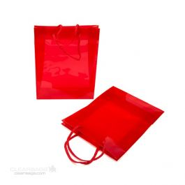 "8 5/8"" x 3"" x 10 3/4"" Red Clear Colored Glossy Gift Bag (10 Pieces) [G8RD1]"
