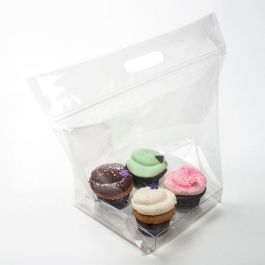 "14 1/2"" x 7"" x 11 1/4"" Zip Handle Cupcake Bags for Four (100 Pieces) [CZHB2]"