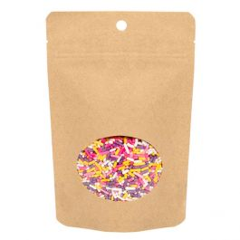 "4"" x 2 3/8"" x 6""  Kraft Eco Stand Up Pouch w/Oval Window (100 Pieces) [ZBGEO2K]"