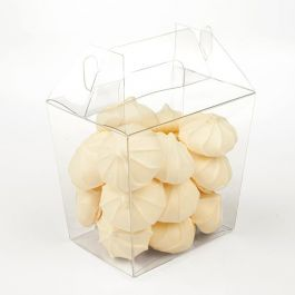 "4 13/16"" x 3 1/2"" x 4 3/8"" Large Clear Takeout Box (25 Pieces) [FS284]"