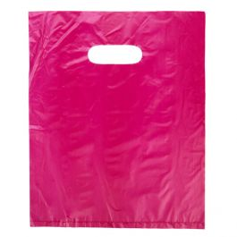 "13"" x 15"" Fuchsia Handle Bag 0.7 Mil HDPE (100 Pieces) [H1315FU3]"