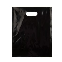 "12"" x 15"" Black Handle Bag 2.25Mil LDPE (100 Pieces) [H1215BK1]"