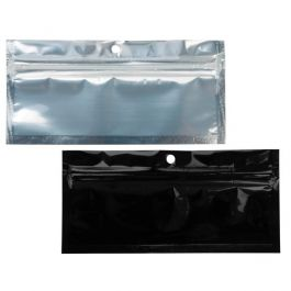 "5 1/2"" x 1 3/4"" Black Backed Metallized Hanging Zipper Barrier Bags (100 Pieces) [HZBB8CB]"