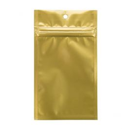"3"" x 4 1/2"" Gold Metallized Hanging Zipper Barrier Bags (100 Pieces) [HZBB3MG]"