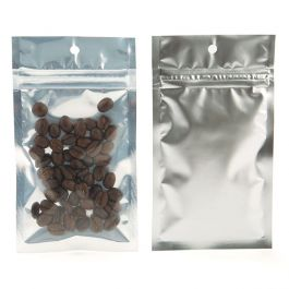 """3"""" x 4 1/2"""" Silver Backed Metallized Hanging Zipper Barrier Bags (100 Pieces) [HZBB3S]"""