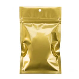 "3 5/8"" x 5"" Gold Metallized Hanging Zipper Barrier Bags (100 Pieces) [HZBB4MG]"