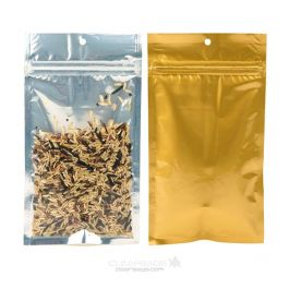 "4"" x 6 1/2"" Gold Backed Metallized Hanging Zipper Barrier Bags (100 Pieces) [HZBB5CG]"