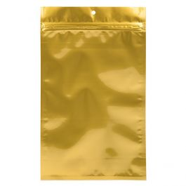 "6"" x 9 1/4"" Gold Metallized Hanging Zipper Barrier Bags (100 Pieces) [HZBB7MG]"