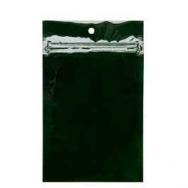 "3 5/8"" x 5"" Hunter Green Metallized Hanging Zipper Barrier Bags (100 Pieces) [HZBB4HG]"