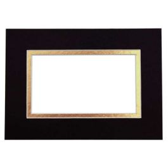 "12"" x 16"" Double Mat, Black/Rich Gold, 7 5/8"" x 11 5/8"" Inner Cut (10 Pieces) [MD20181]"