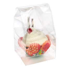 "4"" x 4"" x 9"" Single Jumbo Cupcake Bag Set (100 Sets) [CBG3]"
