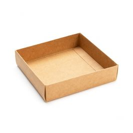 "4 1/8"" x 1"" x 4 1/4"" Kraft Paper Base Bottom (25 Pieces) [KR99]"