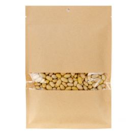 "6"" x 9"" Kraft Compostable Heat Seal Bags w/Window (100 Pieces) [KHS69W]"