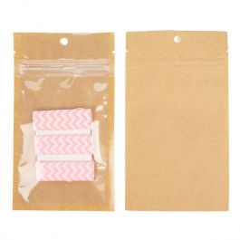 "3"" x 4 1/2"" Kraft Backed Hanging Barrier Bags w/Tear Notches (100 Pieces) [HZB3KC]"