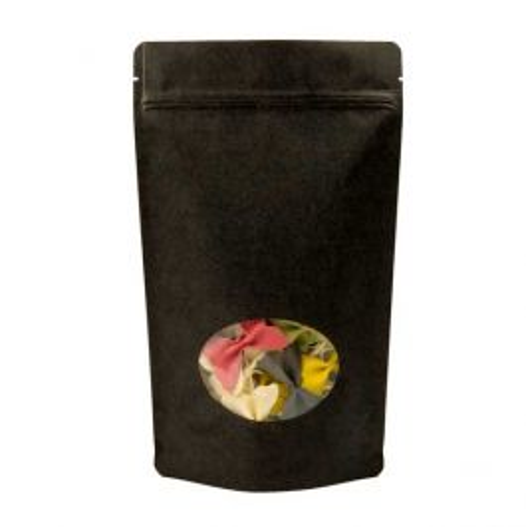 "6 3/4"" x 3 1/2"" x 11 1/4"" (Outer Dims) Black Kraft Stand Up Zipper Pouch Bags w/Oval Window (100 Pieces) [ZBGO4BK]"