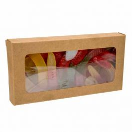 """2 3/4"""" x 13/16"""" x 5 7/16"""" Kraft Paper Window Box with Attached PET Sheet (25 Pieces) [WKRG315]"""
