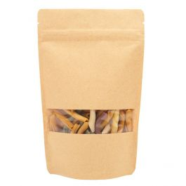 "5 1/8"" x 3 1/8"" x 8 1/8"" (Outer Dimensions) Kraft Zipper Pouch Bags (100 Pieces) [ZBGW3K]"