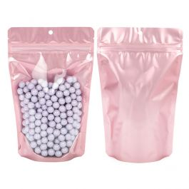 "5 1/8"" x 3 1/8"" x 8 1/8"" (Outer Dims) Rose Gold Backed Stand Up Pouch w/Hang Hole (100 Pieces) [ZBGRG3]"