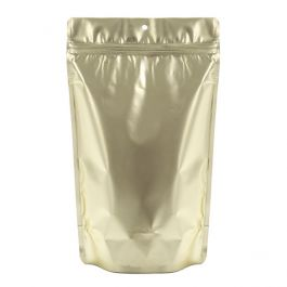"6 3/4"" x 3 1/2"" X 11 1/4"" (Outer Dims) Matte Gold Metallized Stand Up Pouch w/Hang Hole (100 Pieces) [ZBGM4MG]"