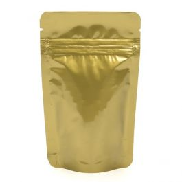 "3 1/8"" x 2"" x 5 1/8"" (Outer Dimensions) Gold Metallized Zipper Pouch Bags (100 Pieces) [ZBGM1G]"