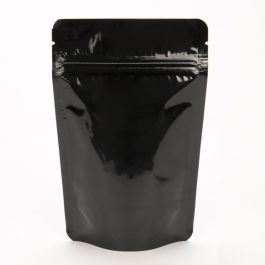 "4"" x 2 3/8"" x 6"" (Outer Dimensions) Black Metallized Zipper Pouch Bags (100 Pieces) [ZBGM2B]"