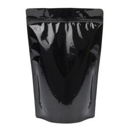 "9"" x 4 3/4"" x 13 1/2"" (Outer Dimensions) Black Metallized Zipper Pouch Bags (100 Pieces) [ZBGM6B]"