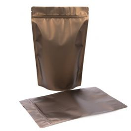 "9"" x 4 3/4"" x 13 1/2"" (Outer Dims) Bronze Metallized Zipper Pouch Bags (100 Pieces) [ZBGM6BZ]"