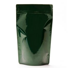 "6 3/4"" x 3 1/2"" x 11 1/4"" (Outer Dimensions) Hunter Green Metallized Stand Up Zipper Pouch Bags (100 Pieces) [ZBGM4HG]"