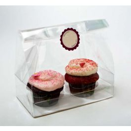 "7"" x 4"" x 9"" Double Cupcake Bag Set w/Paper Bottom (100 Sets) [CBG5]"