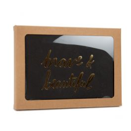 """4 7/8"""" x 5/8"""" x 6 5/8"""" Kraft Paper Window Box with Attached PET Sheet, A6 (25 Pieces) [WKRG2]"""