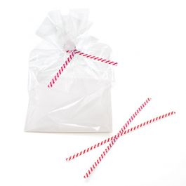 "6"" x 5/32"" Paper White/Red Stripe TwistTies (1000 Pieces) [TT6WRS]"
