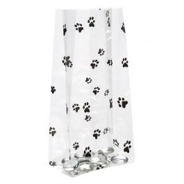 "3 1/2"" x 2"" x 7 1/2"" Paw Prints Printed Gusset Bags, 1.2 Mil (100 Pieces) [G3PAW]"