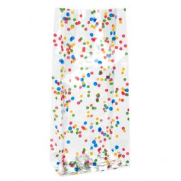 "4"" x 2 1/2"" x 9 1/2"" More Dots Printed Gusset Bags 1.2 Mil (100 Pieces) [G4MD1]"