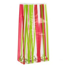 """3 1/2"""" x 2"""" x 7 1/2"""" Sweet Stripes Printed Gusset Bags 1.2 Mil (100 Pieces) [G3SCA]"""