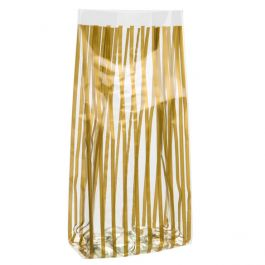 "4"" x 2 1/2"" x 9 1/2"" Vertical Stripe Gold Printed Gusset Bags, 1.2 Mil (100 Pieces) [G4VSG]"