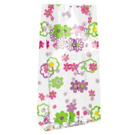 """5"""" x 3"""" x 11 1/2"""" Flower Grove Printed Gusset Bags, 1.2 Mil (100 Pieces) [G5FG]"""