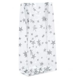 "3 1/2"" x 2"" x 7 1/2"" More Stars Silver Printed Gusset Bags, 1.2 Mil (100 Pieces) [G3MSS]"