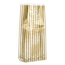"5"" x 3"" x 11 1/2"" Vertical Gold Stripe Printed Gusset Bags, 1.2 Mil(100 Pieces) [G5VSG]"