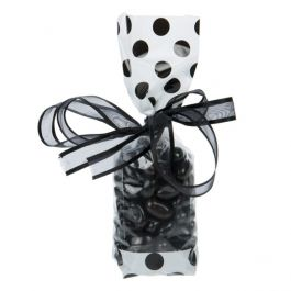 "2"" x 1 7/8"" x 9 1/2"" White w/Black Polka Dots Printed Cello Gusset Bags 1.6 Mil (100 Pieces) [G1WB]"