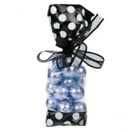 "2 5/8"" x 1 7/8"" x 10 3/4"" Black w/White Polka Dots Printed Cello Gusset Bags 1.6 Mil (100 Pieces) [G2BW]"