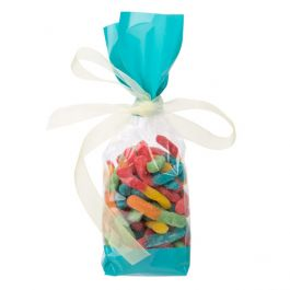 """2 5/8"""" x 1 7/8"""" x 10 3/4"""" Teal Solid Bands Printed Cello Gusset Bags, 1.6 Mil (100 Pieces) [G2TL]"""
