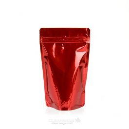 "5 1/8"" x 3 1/8"" x 8 1/8"" (Outer Dims) Red Metallized Zipper Pouch Bags (100 Pieces) [ZBGM3R]"