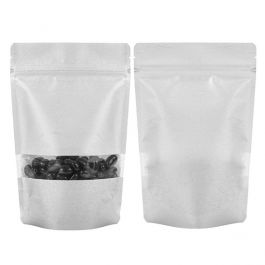 "5 7/8"" x 3 1/2"" x 9 1/8"" (Outer Dims) Silver Rice Paper Stand Up Pouch (100 Pieces) [ZBGR7S]"
